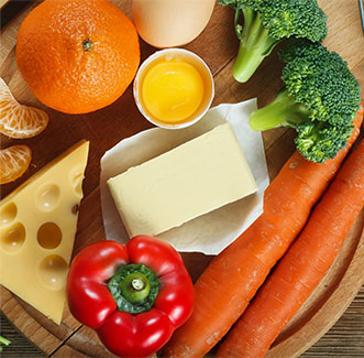 fruit, vegetables and products with vitamin A