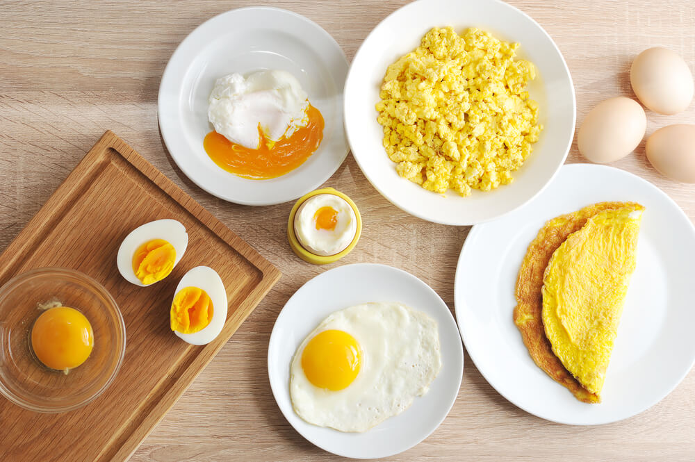 Eggs cooked in different ways