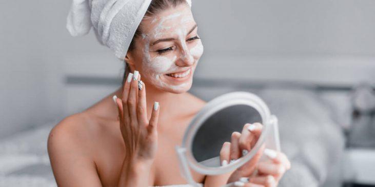 Woman with face mask following Introstem regimen